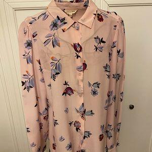 Rebecca Taylor Pink Silk Floral Blouse Sz 12